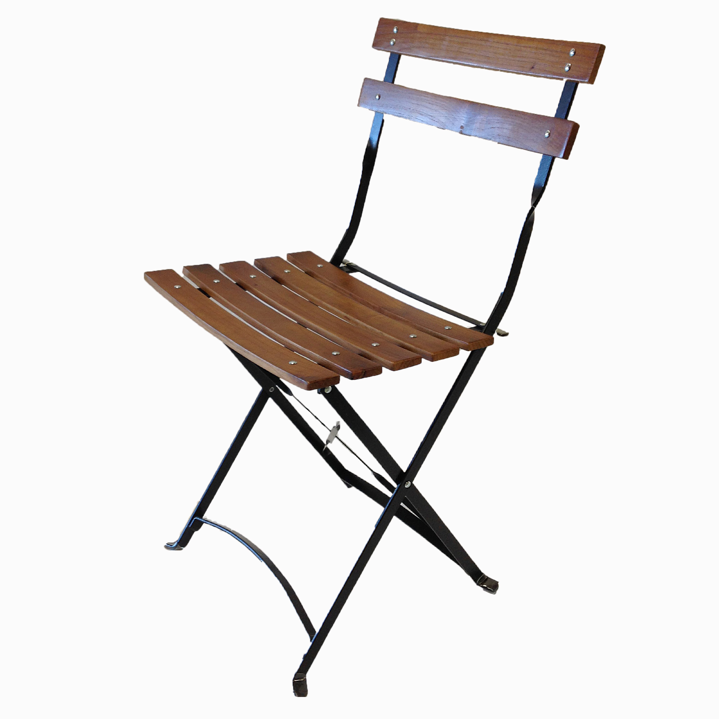 French Bistro Metal Wood Folding Chair
